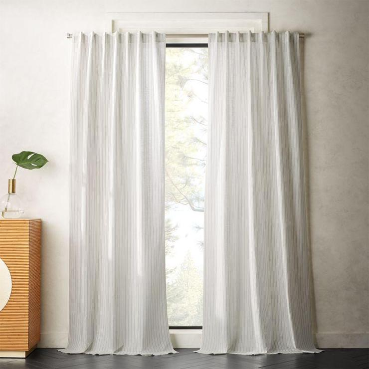 Madeline Gray Striped White Linen Panel