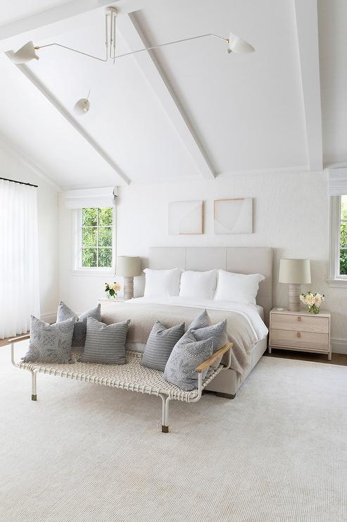 Light Gray Bed With Beige Wooden Nightstands Transitional Bedroom