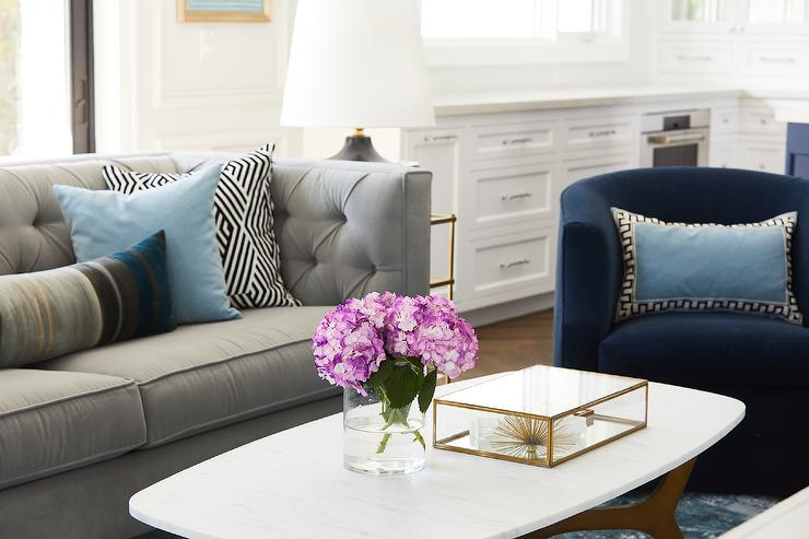 Sky Blue Pillows On Gray Velvet Tufted Sofa Transitional Living Room