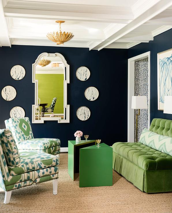 Enjoyable Green Velvet Tufted Settee With Green Ikat Chairs Lamtechconsult Wood Chair Design Ideas Lamtechconsultcom