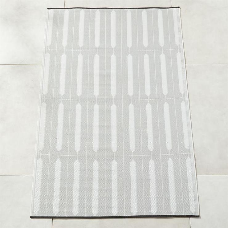 Shutter Ivory Gray Striped Outdoor Rug
