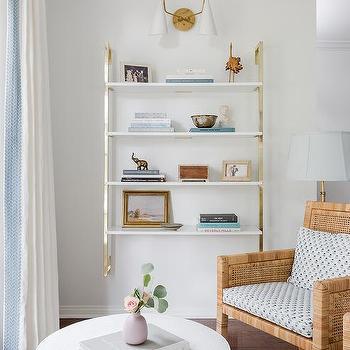 Brass Kitchen Wall Shelving Unit Design Ideas