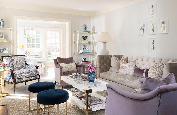 Gray Velvet Tufted Shelter Back Sofa with Purple Velvet Accent ...