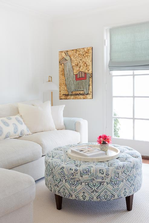 White And Blue Living Room With Window Seat Alcove
