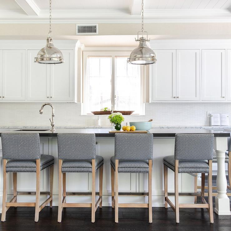 Dark Blue Stools At White And Black Kitchen Island Transitional