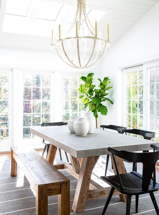Brilliant Wood And Concrete Trestle Dining Table With Black Wooden Theyellowbook Wood Chair Design Ideas Theyellowbookinfo