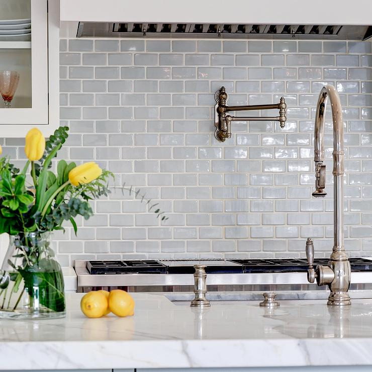 Mini Gray Subway Tiled Backsplash Cottage Kitchen