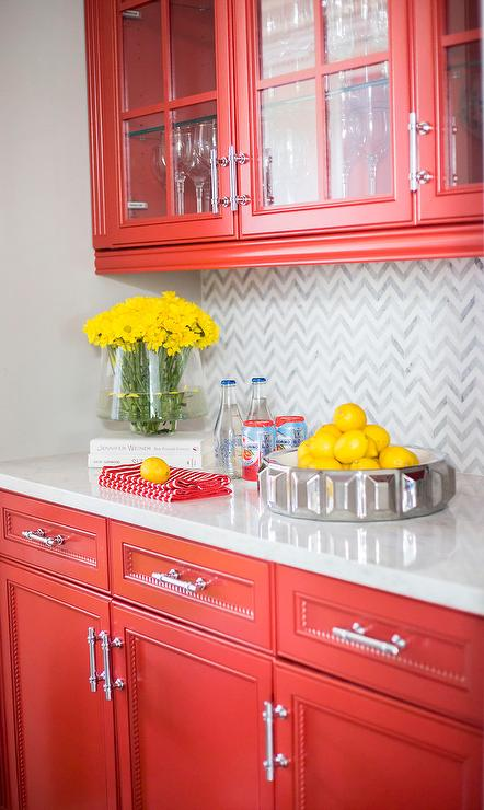 Red Kitchen with White and Gray Marble Chevron Pattern ...