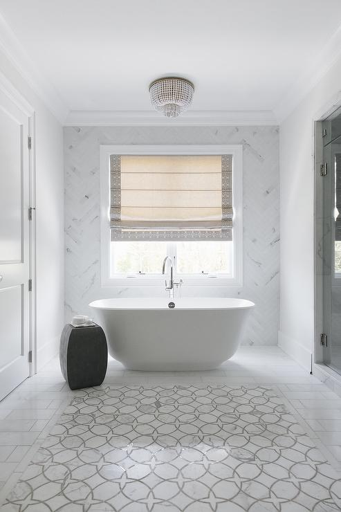 White And Gray Marble Accent Tiles Transitional Bathroom
