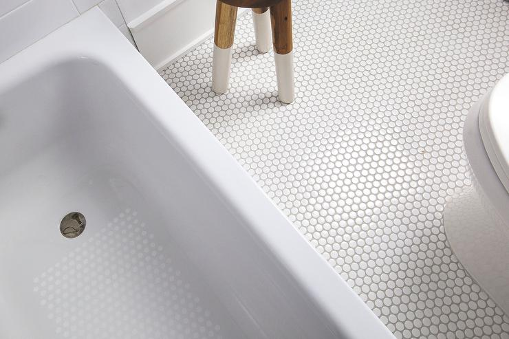 White Penny Bath Floor Tiles With Light Gray Grout Transitional Bathroom