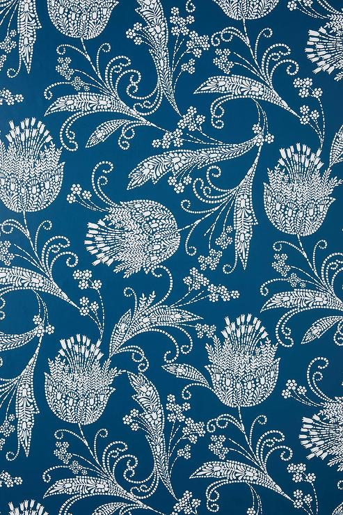 Rigby Navy Paisley Floral Wallpaper