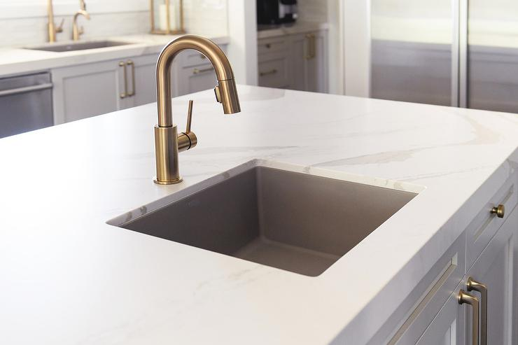 Brushed Gold Gooseneck Faucet With Square Prep Sink Transitional Kitchen