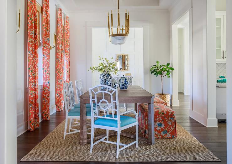 Brown Lattice Back Dining Chairs With, Orange Dining Room Chair Cushions