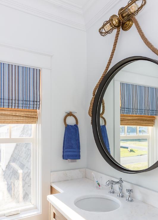 Oversized Rope Hanging Mirror Over, Rope Hanging Vanity Mirror