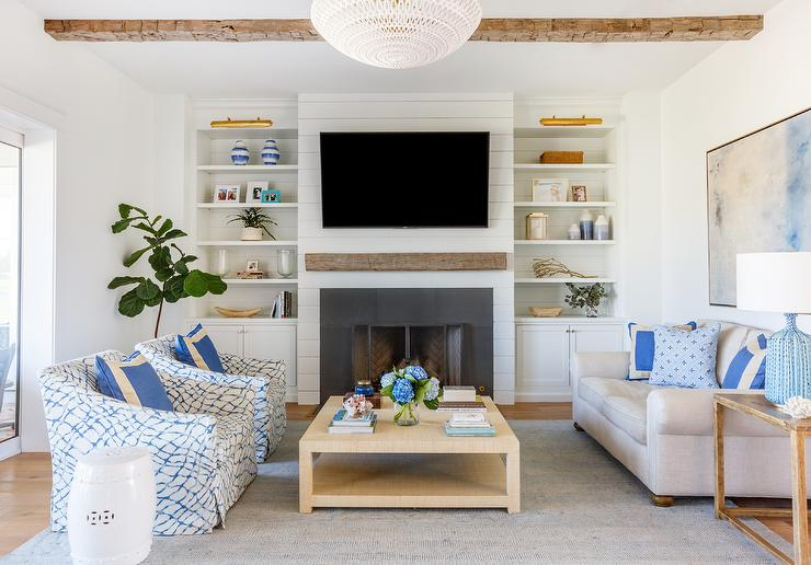 Fabulous White And Blue Living Room With Gold Raffia Coffee Table Pdpeps Interior Chair Design Pdpepsorg