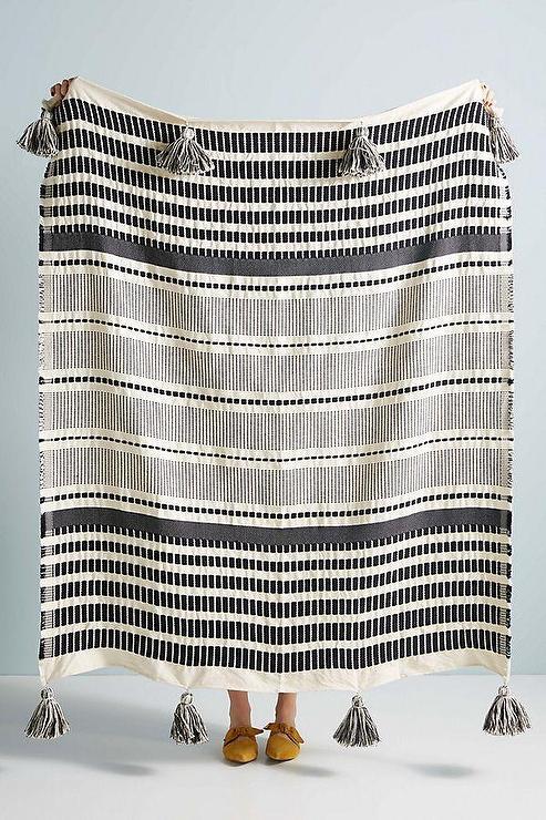 Zephyr Black White Striped Tassels Throw Blanket