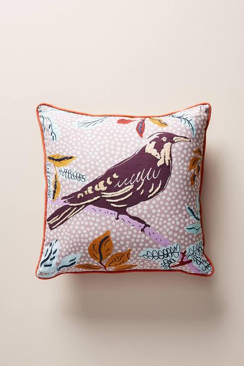 16 X16 Green Bird And Floral Print Pillow Cover By