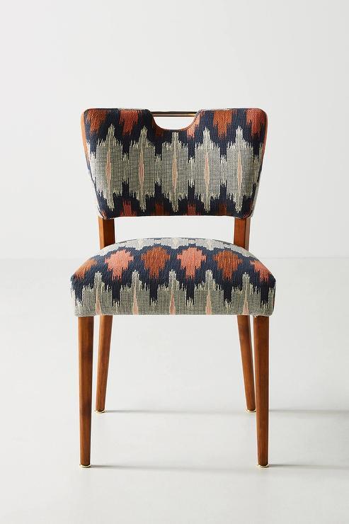 Tremendous Wyatt Curved Ikat Red Navy Dining Chair Inzonedesignstudio Interior Chair Design Inzonedesignstudiocom