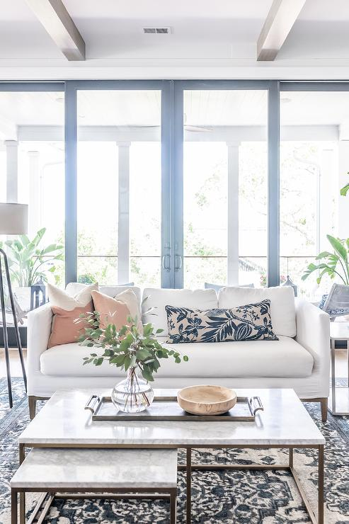White Sofa with Marble Nesting Coffee Tables - Transitional - Living ...