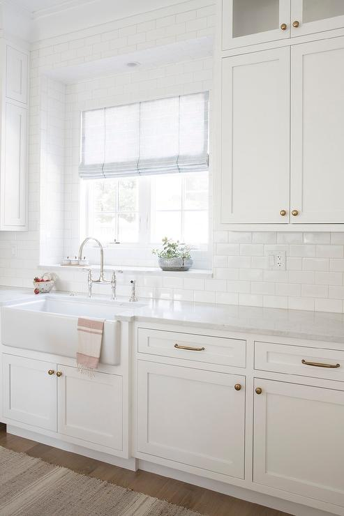 White Kitchen With White Subway Tiles Transitional Kitchen