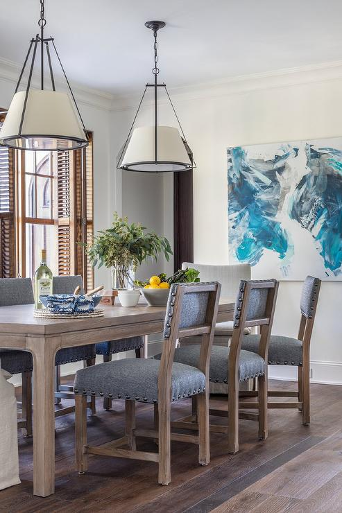 Incredible Wooden Dining Chairs Upholstered In Denim Blue Fabric Inzonedesignstudio Interior Chair Design Inzonedesignstudiocom