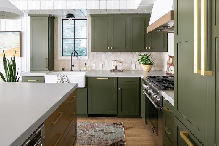 Light Gray Green Cottage Kitchen Colors - Cottage - Kitchen
