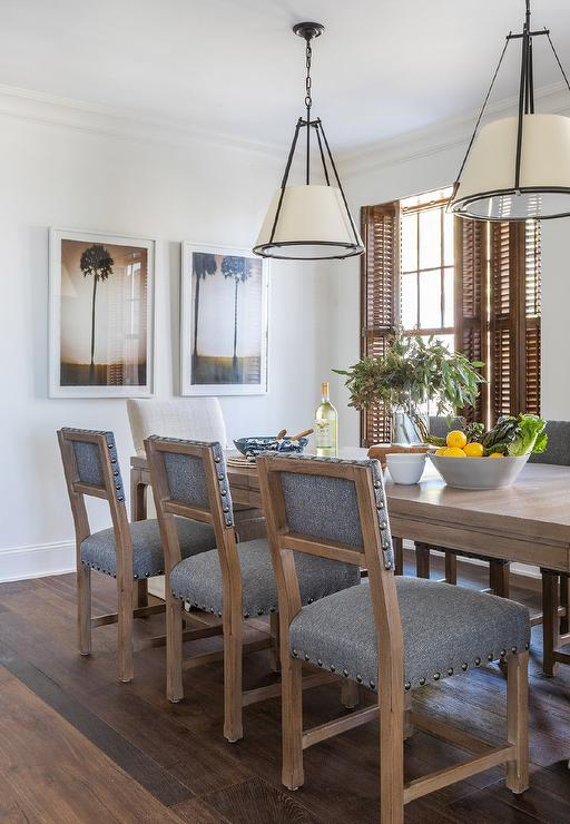Hanging Shade Lights Over Brown Wooden Dining Table Cottage Dining Room