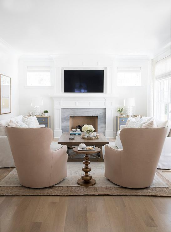 White Sofas with Pink Leather Accent Chairs - Transitional ...