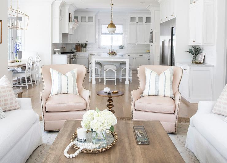 Pink Leather Wingback Chairs With Silver Nailhead Trim Transitional Living Room