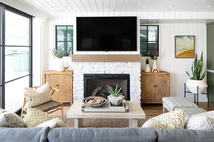 White Stone Fireplace With Tv Design Ideas