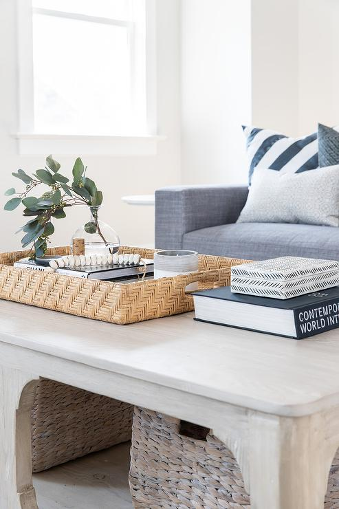 Light Stained Wooden Coffee Table With Woven Baskets Transitional Living Room