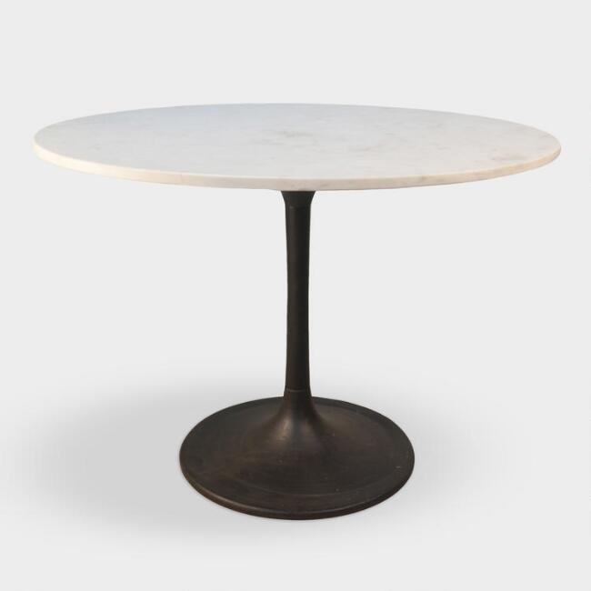 Devan Round Marble Iron Tulip Dining Table