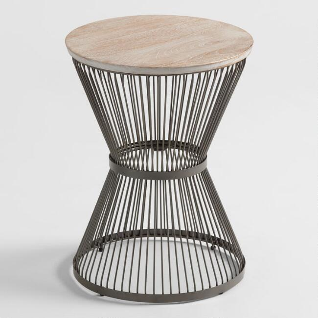 Kearny Round Wood Gray Metal Accent Table