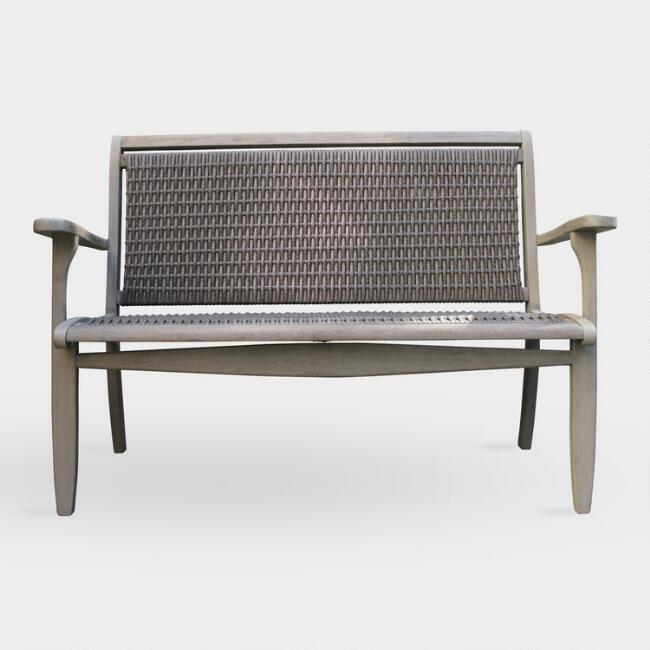 Enjoyable Claire Graywashed Wood Wicker Outdoor Bench Creativecarmelina Interior Chair Design Creativecarmelinacom