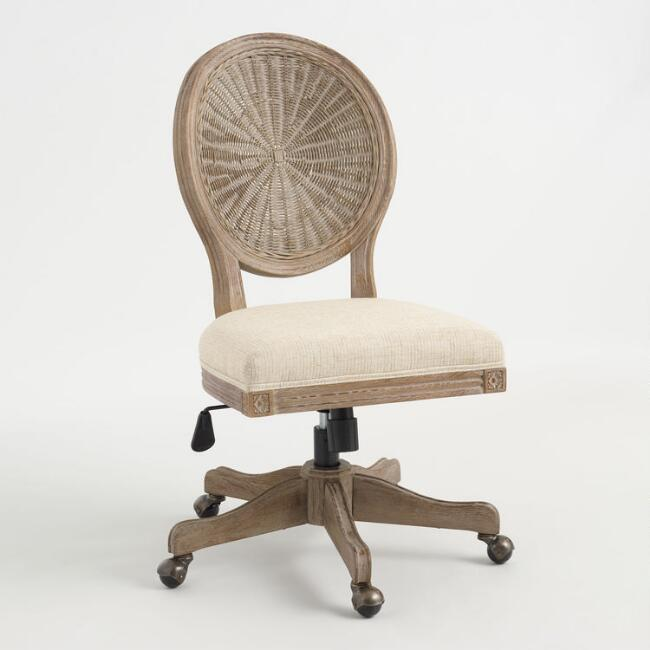 Paige Natural Cane Round Back Office Chair