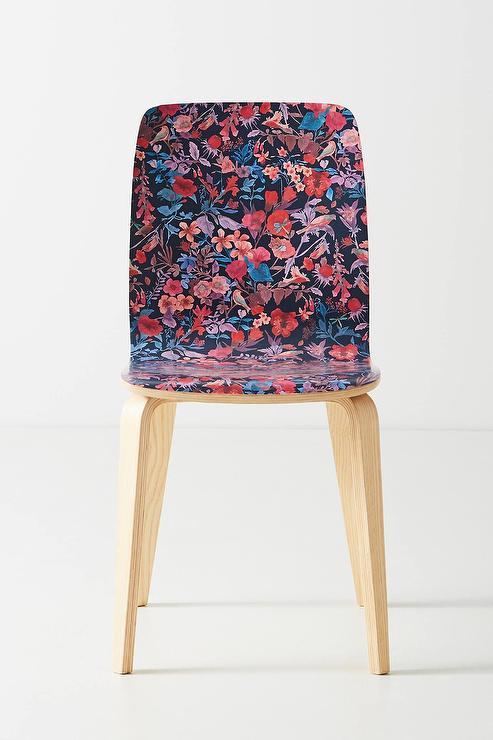 Blue Floral Print Arm Chair