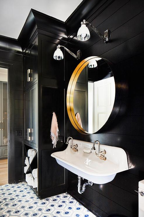 Black Painted Bathroom Walls Design Ideas