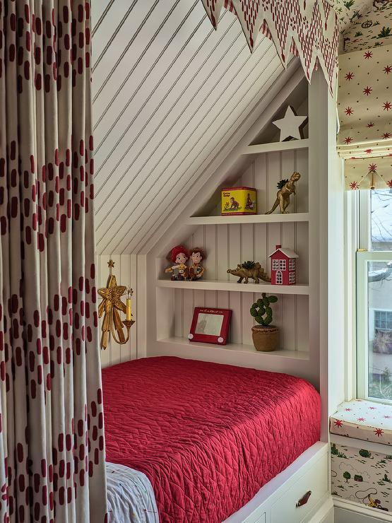 Kids Bedroom White Built In Shelves Design Ideas
