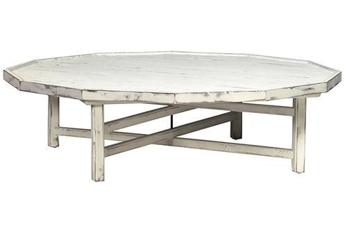 Montauk Round Whitewash Wood Coffee Table