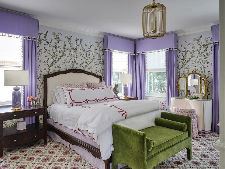 Groovy French Bed With Purple Tassel Lamps Contemporary Bedroom Machost Co Dining Chair Design Ideas Machostcouk