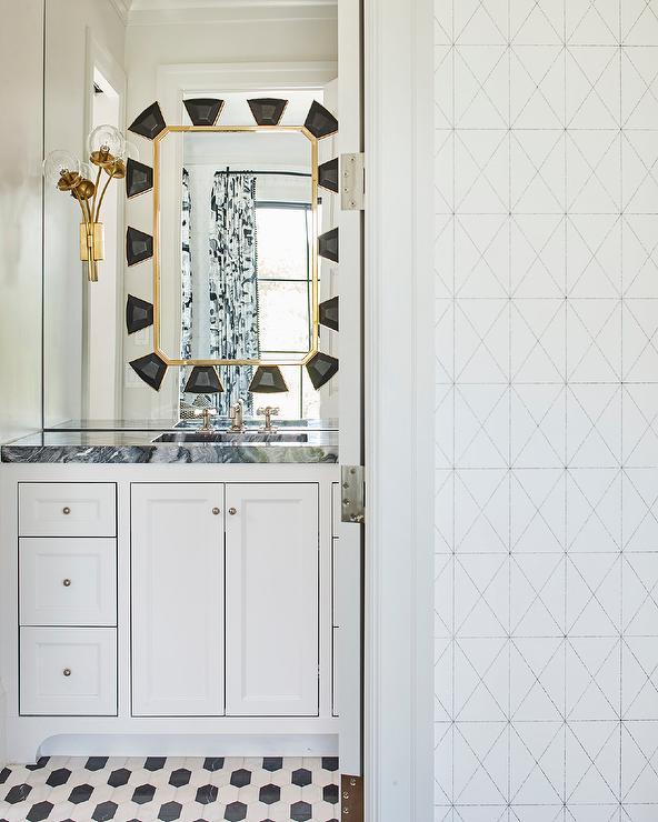 Gold And Black Art Deco Mirror In Vanity Mirror Contemporary Bathroom