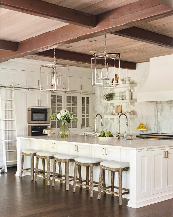 Long Kitchen Island with Five Oak Stools - Transitional ...