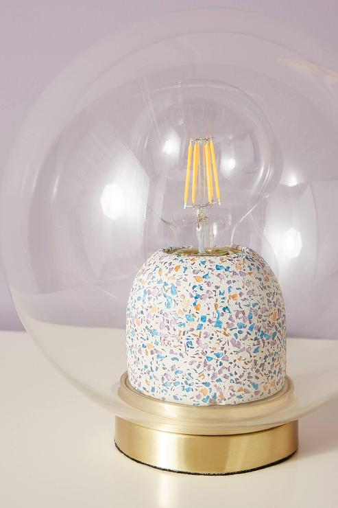 Elle Cylinder Terrazzo Brass Table Lamp Base