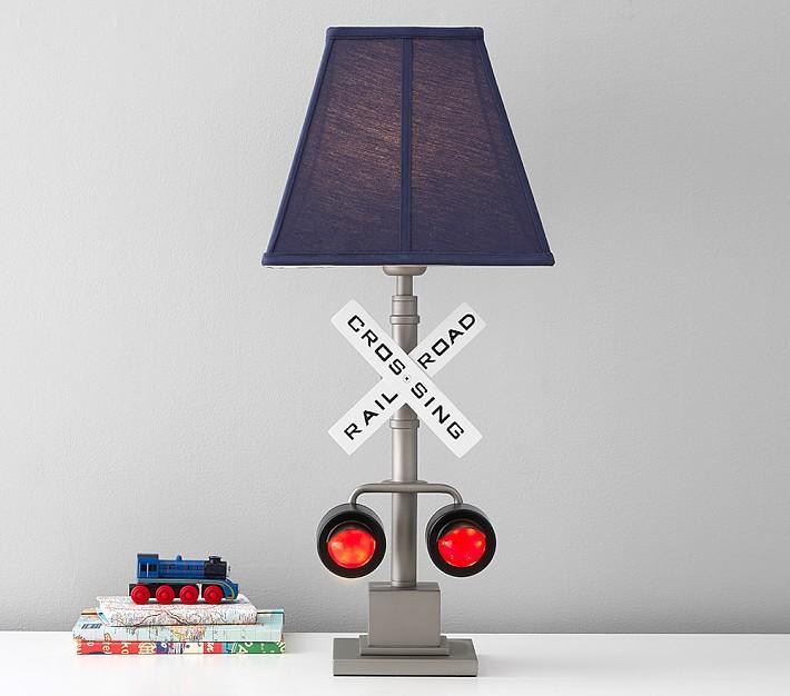 Railroad Crossing Light Up Table Lamp, Train Table Lamp