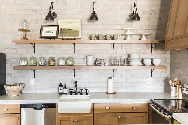 Basement Kitchen With Stacked Shelves Cottage Kitchen