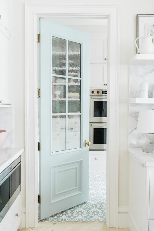 Light Blue Kitchen Pantry Door With Glass Panels Transitional Kitchen