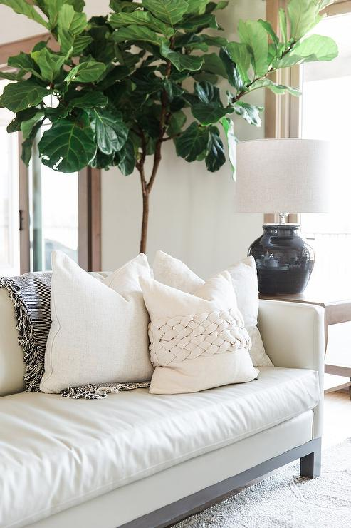 Fantastic Chic White Leather Sofa With White Pillows Transitional Ncnpc Chair Design For Home Ncnpcorg