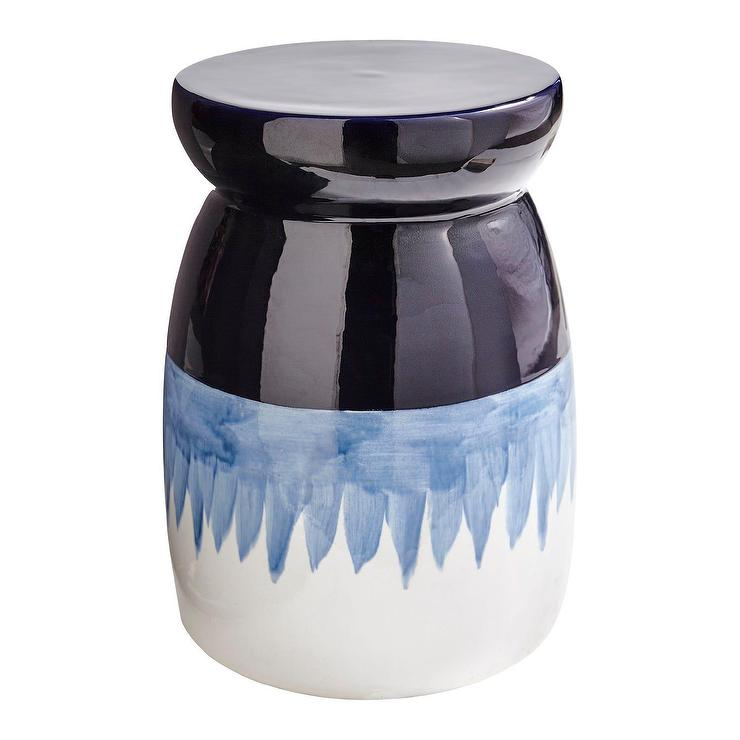 Pleasing Round Blue Ombre Ceramic Garden Stool Ocoug Best Dining Table And Chair Ideas Images Ocougorg