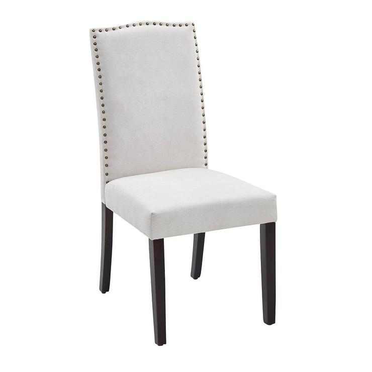 Fine Ivory Camel Back Nailhead Dining Chair Gmtry Best Dining Table And Chair Ideas Images Gmtryco