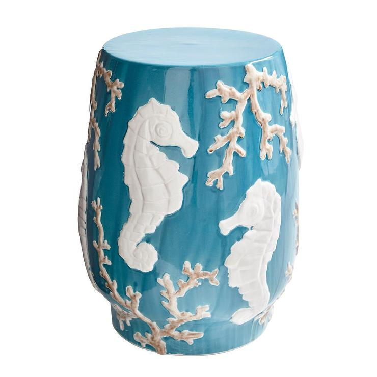 Astounding Seahorse Teal Ceramic Garden Stool Gmtry Best Dining Table And Chair Ideas Images Gmtryco
